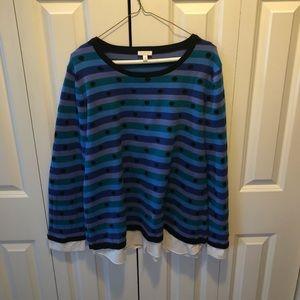 Talbots polka dot stripes sweater XL